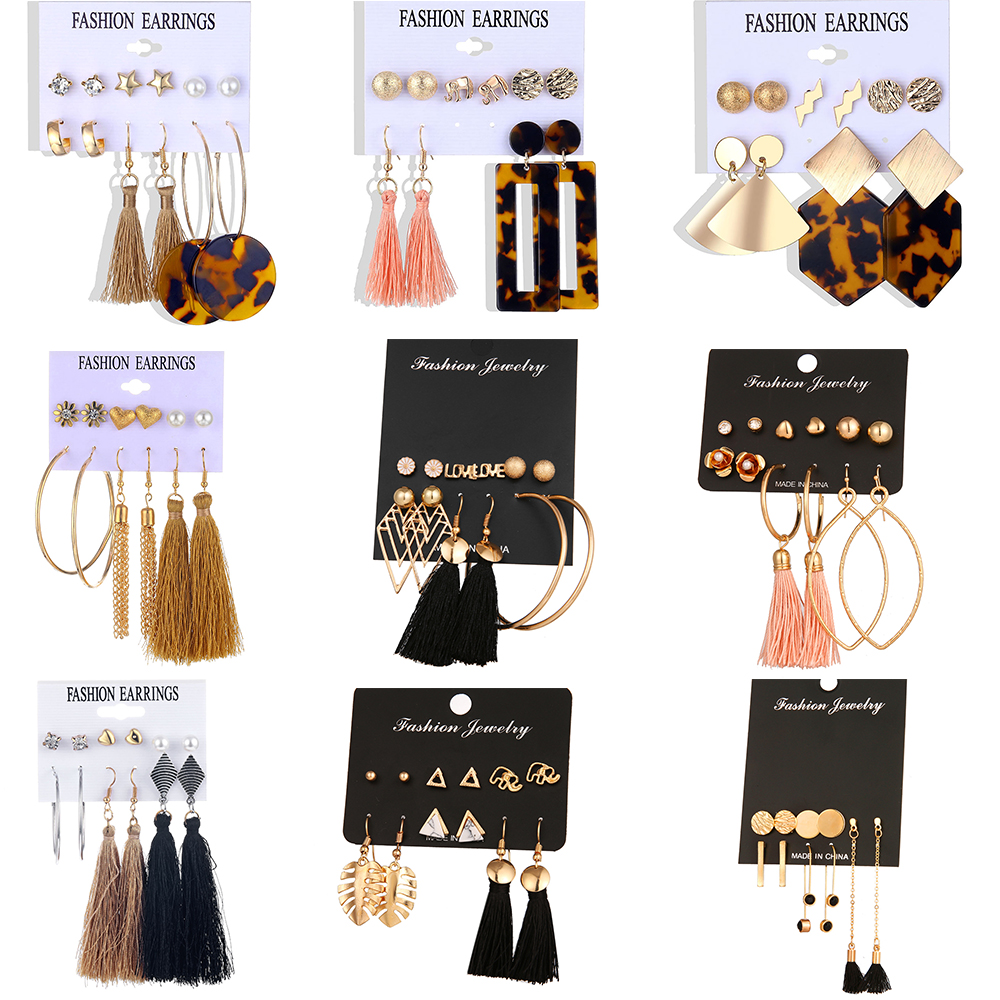 Fashion new design long tassel earrings ladies and girls 2019 bohemian flower heart pendant fashion fabric women's jewelry image