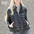 Inverno mulheres casaco de couro real de couro genuíno preto 100% da pele de carneiro jaqueta curta parka casacos manteau hiver femme LT949