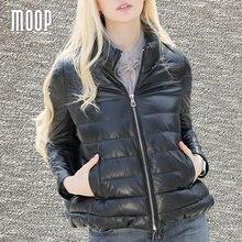 Winter women genuine leather down coat real leather short parka black 100% sheepskin jacket coats manteau femme hiver LT949