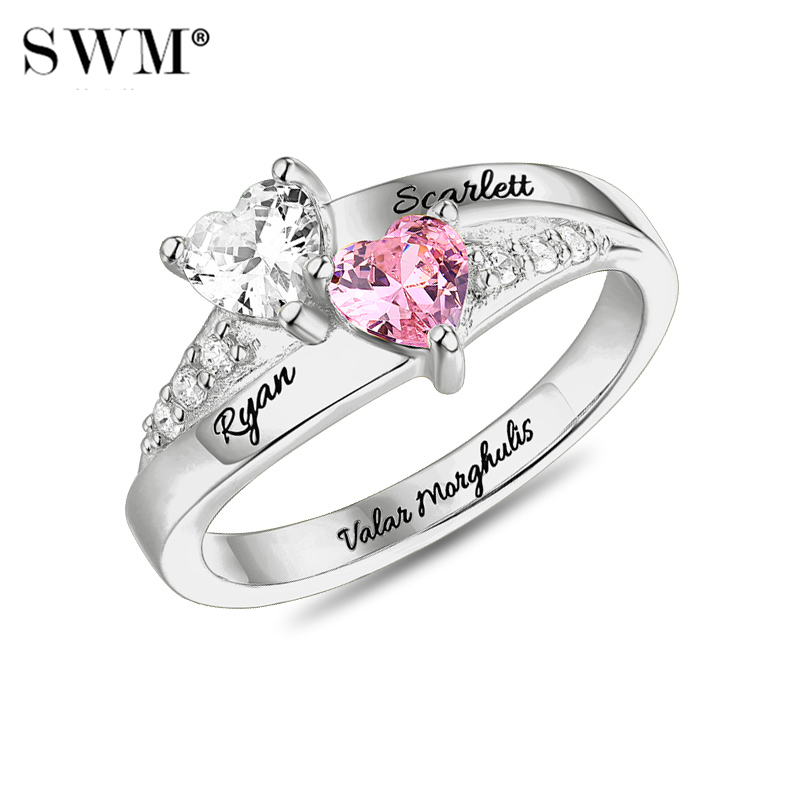 Costume Letter Engagement Ring With Stone Crystal Custom Name Promise Rings for Women For Lovers Couple
