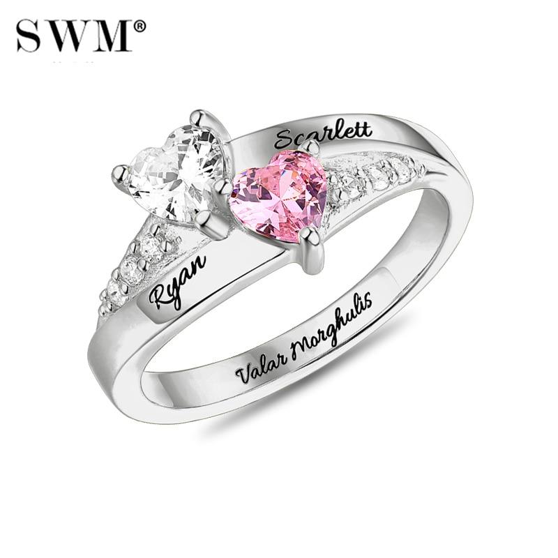 衣装手紙ストーンクリスタルカスタム名女性愛好家のためのカップル 925 スターリングシルバー  グループ上の ジュエリー & アクセサリー からの 婚約指輪 の中 1