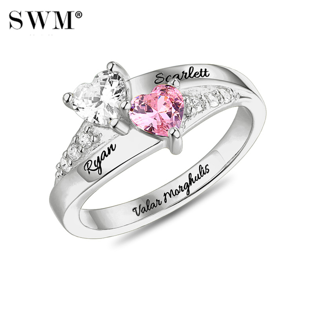 Costume Letter Engagement Ring With Stone Crystal Custom Name Promise Rings for Women For Lovers Couple 925 Sterling Silver