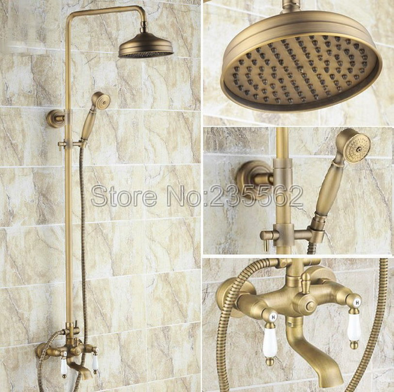 Wall Mounted Antique Brass Bathroom 8 inch Rain Shower Head System Set W/ Hand shower Tub Spout Faucet lrs146 antique brass 8 rain shower faucet set double corss handles tub mixer hand unit