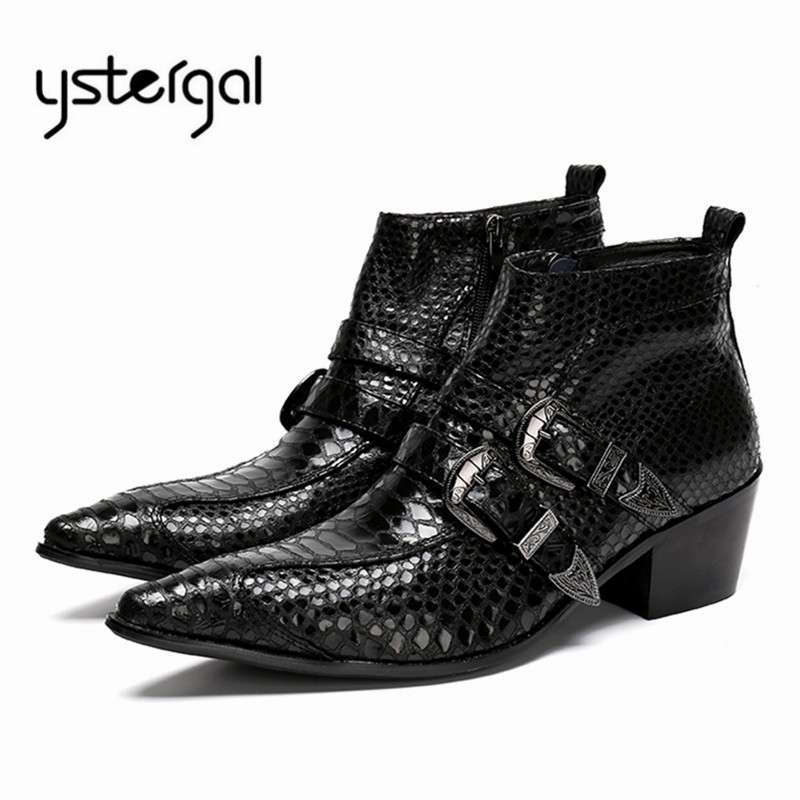 YSTERGAL 2018 New Men Genuine Leather Boots Pointed Toe Straps Design Ankle Boots Mens Business Wedding Formal Dress Shoes Male fashion genuine leather mens ankle boots pointed toe lace up wedding dress shoes safety shoes men military boots mans footwear