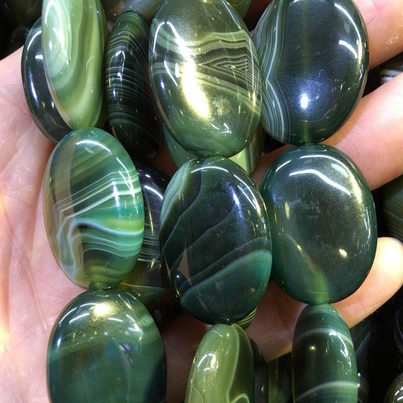Free Shipping Fashion Jewelry 22x30mm Beautiful Olive Green Stripes Chalcedony Oval Loose Beads 13pcs FG7194