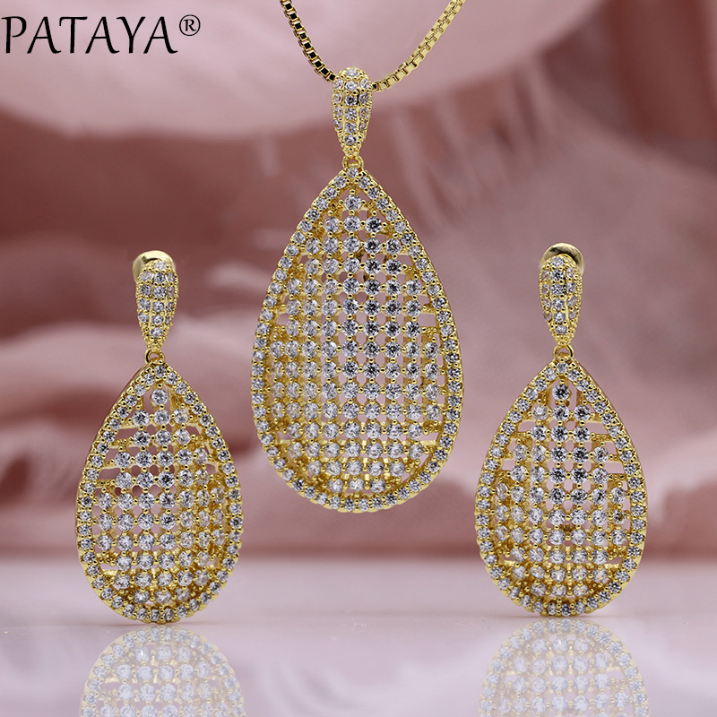 PATAYA New Water Drop Shape Stud Earrings Necklaces Sets Women Fashion Party 585 Rose Gold Hollow Pendant Luxury Jewelry Sets water drop jewelry sets for women fashion jewellery nature stone with crytal glass stud earrings and pendant necklace of party