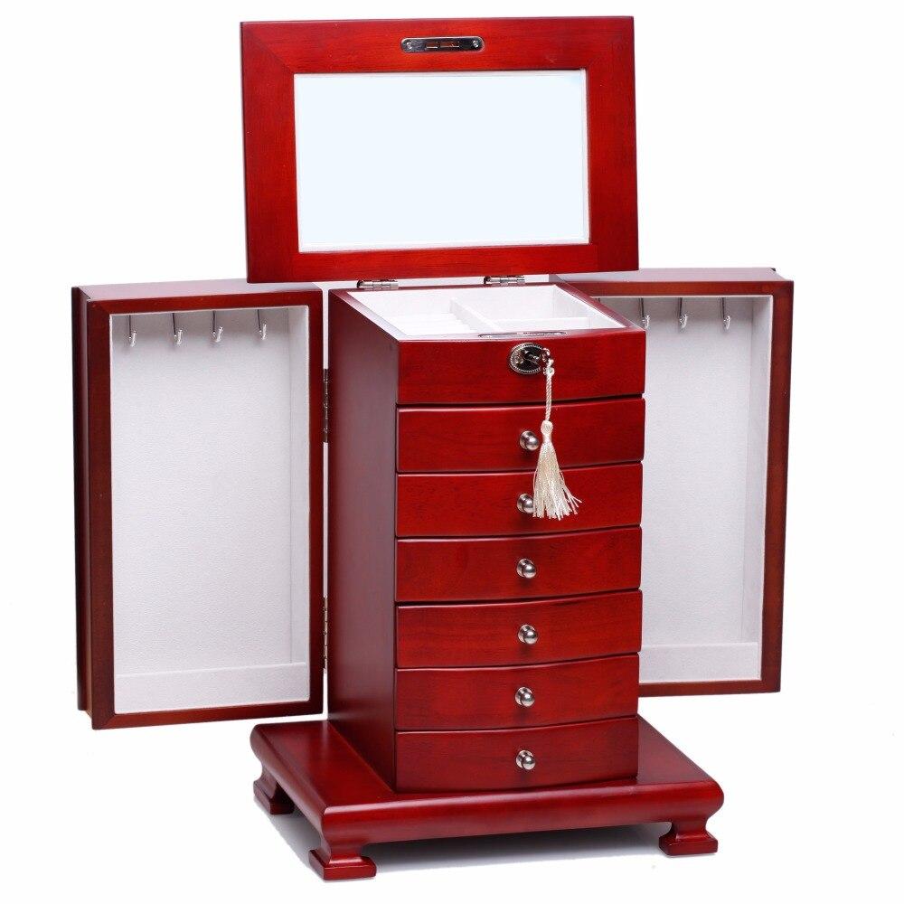 ROWLING Fashion Large Classic Wooden Storage Boxes&Bins Luxury Jewellery Box Earring Bracelets Organizer 6 Drawers Mirror MG010