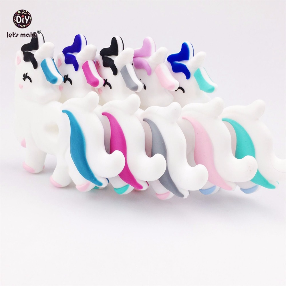 Lets Make 5pc Cute Chewable Silicone Unicorn Baby Teether Lovely Diy Teething Necklace Accessories Food Grade Silicone Teether