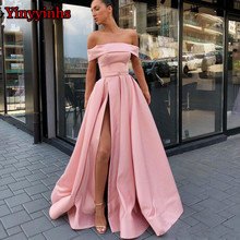 451821a4c01 Elegant Off the Shoulder High Split Long Prom Dress Vestido de Festa Floor  Length Party Gown