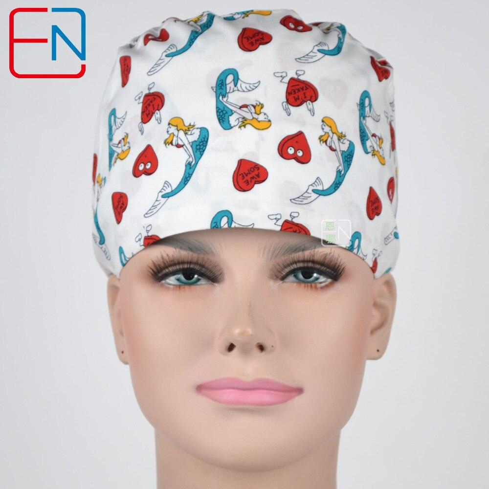Hennar Scrub Caps For Women Hospital Adjustable Medical Caps Hospital Scrub Lab Clinic Dental Operation Hat Doctor Nurse Caps