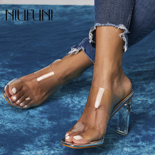 NIUFUNI 2019 Summer Sexy Snake Pattern Transparent Womens Slippers Crystal Thick High Heels woman Sandals Casual Ladies Shoes