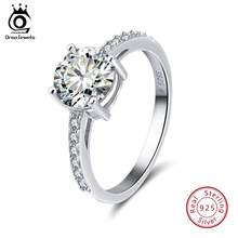 ORSA JEWELS Real 925 Sterling Silver Women Rings AAA Shiny Cubic Zircon Prong Setting Female Luxury Wedding Ring Jewelry SR56(China)