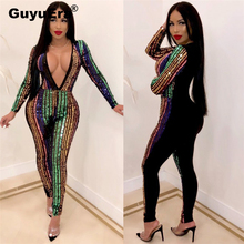 GuyuEra Africa Europe and America Fashion Women Best selling Sexy Multicolor Sequins Stitching Jumpsuit