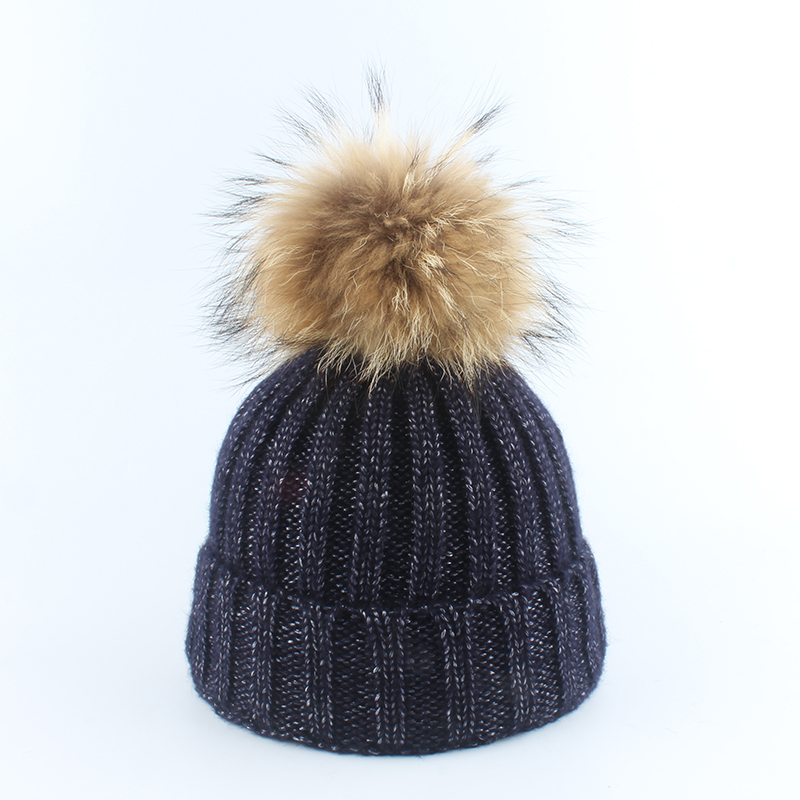 Women Winter Hat Casual Cotton Slouch Beanie Raccoon Fur Pompom Hats Pompon Skullies Balaclava Caps For Women in Women 39 s Skullies amp Beanies from Apparel Accessories