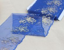 Free shipping 2yards/lot18cm wide  Embroidered Tulle Lace trim mesh lace trim~Blue water~beautiful~ collared mesh trim embroidered plus size top