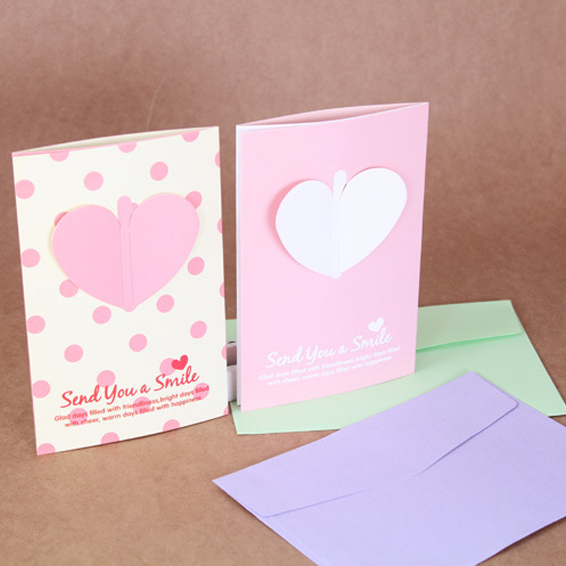 5pcslot Lovely Korean Style Heart Wings Greeting Card Birthday Card