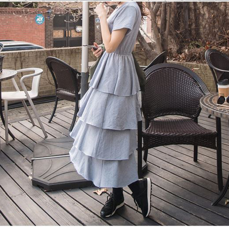 [MENKAY] 2018 spring new female temperament dresses college style small fresh waist was thin layered cake dress