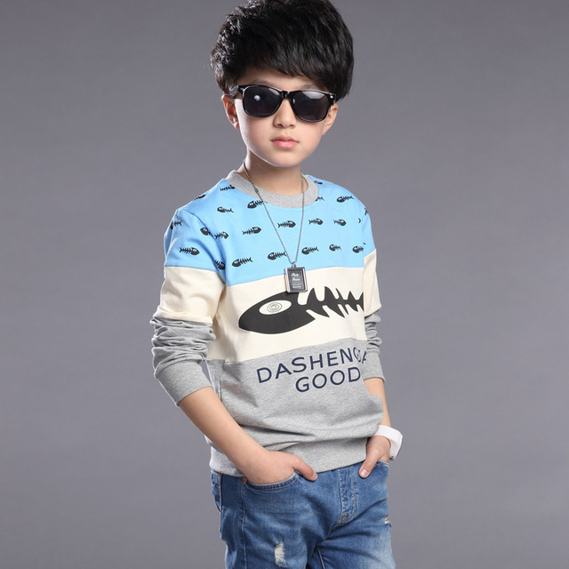 Kids Boys Sweatshirts 2016 Spring Autumn Fashion Casual Style Cotton Long Sleeve Print Shirts Children's Boys Clothing
