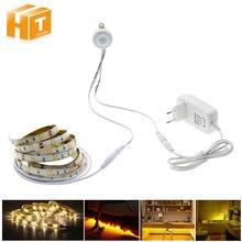 Движения PIR Сенсор Светодиодные ленты 5050 Водонепроницаемый 30 светодиодов/м теплый белый + Интеллектуальный Сенсор свет Управление Спальня ночник