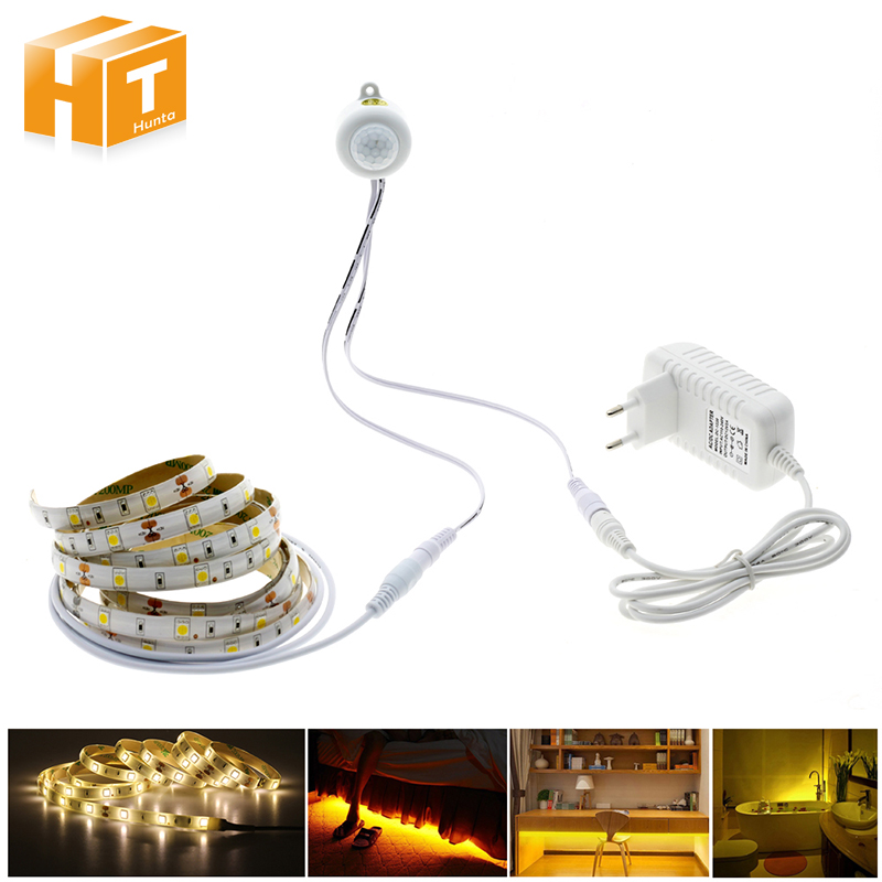Pir Motion Sensor LED Strip 5050 Waterproof 30LEDs/m Warm White  + Intelligent  Sensor Light Control Bedroom Night Light