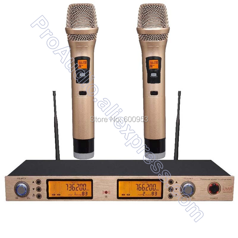 все цены на Clearance sale In Stock ! UHF 200 Channel Digital 2 Golden Color Handheld Wireless Microphone System UHF High Frequency
