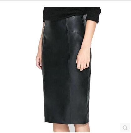 Frete grátis, couro Genuíno das mulheres magro sexy saias. pele de carneiro da moda A Linha de preto, qualidade longa saia, OL novo. presente