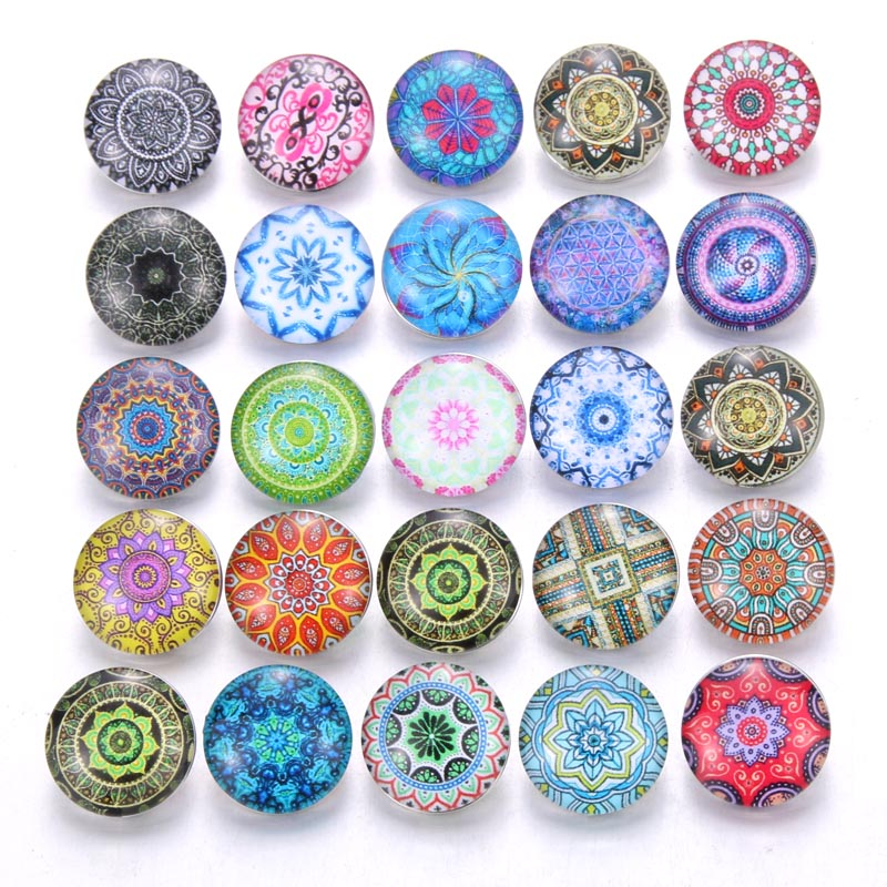 10 шт./лот, смешанные цвета и узор, 18 мм, стеклянные кнопки, ювелирное изделие, граненое стекло, оснастка, подходят, оснастки, серьги, браслет, ювелирное изделие - Окраска металла: AB213