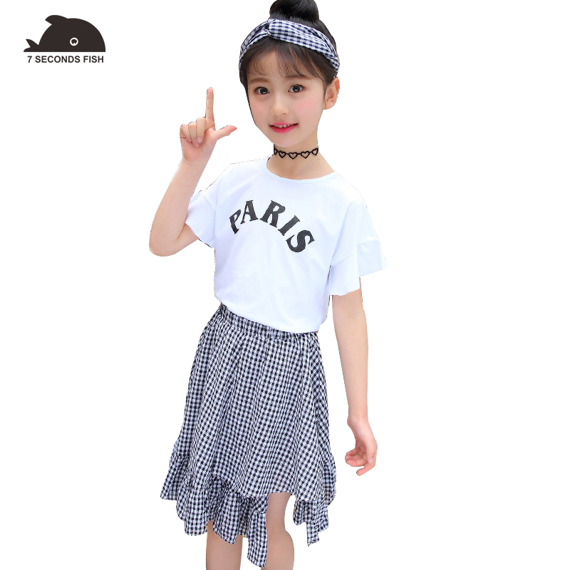 kids clothes girls clothing set 2018 baby girl clothes summer 2 PCS T shirt + skirt girls outfits 7 seconds fish brand baby girl summer clothes 2018 kids girls clothes set two pcs t shirt striped shirt 5 6 8 10 12 year girls boutique outfits