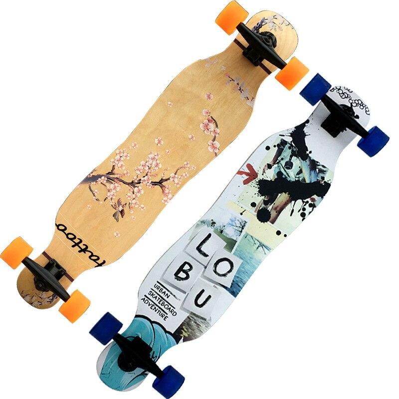 4 roues érable complet Longboard planche à roulettes rue danse longue planche à roulettes adulte jeunesse Double Rocker planche