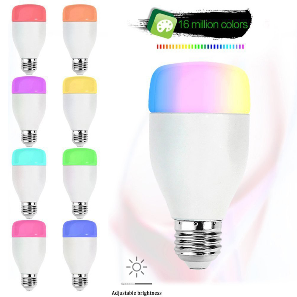 Brightness E27 Led Wireless Wifi Bulb Smartphone App Remote Control Light  Bulb 6w 16 Million Color For Alexa Voice App By Phone