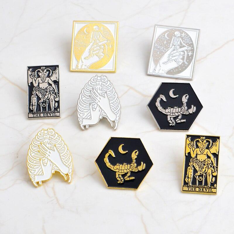 Buy MINGQI Dark Rib cage Hug Scorpions Skeleton Devil goat Satan Pin Badge Gold alloy enamel Brooch Shirt bag accessories jewelry for only 1.26 USD