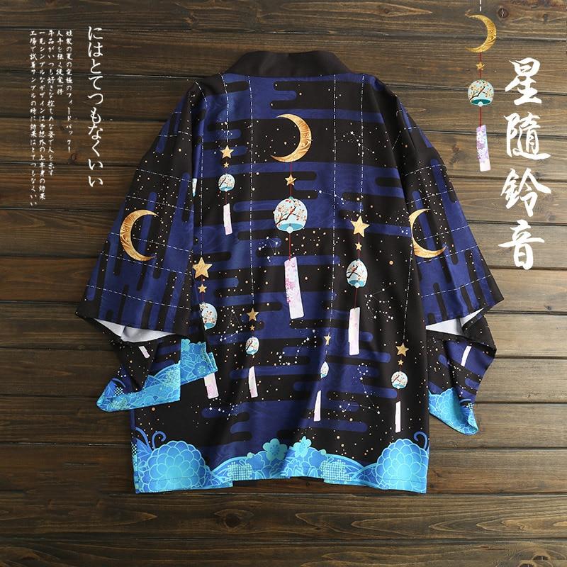 Japanese Loose Bathrobe Stars Follwoing Ringtone Dark Blue Color Haori Summer Sunscreen Kimono Literature And Art Cosplay Women