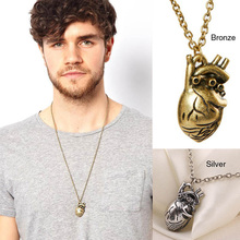 A16 Unique Retro 3D Anatomical Human Hollow Heart Pendant Necklace Sweater Chain T1557 P0.50