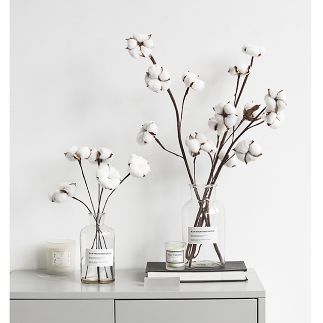 Artificial Dried Flowers Cotton Flower Branch For Wedding Party Home Decoration Flowers 1head/5pcs and other head/1pc