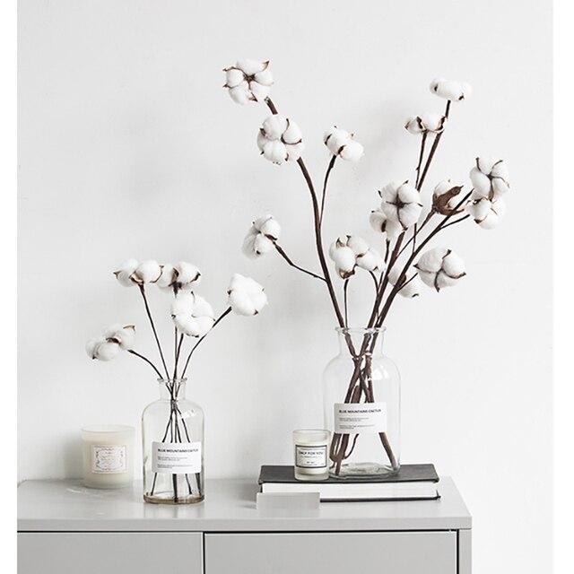 Do Ramo Da Flor Artificial Flores Secas de Flores de Algodão Para A Festa de Casamento Casa Decoração Flores cabeça 1/5 pcs e outra cabeça /1 pc