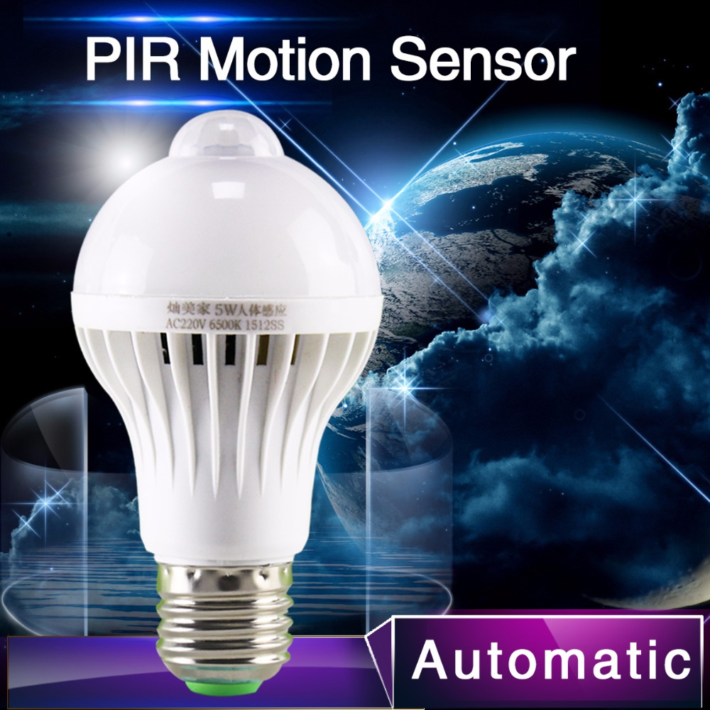 1pcs PIR Motion Sensor Lamp 5w Led E27 Bulb 7w 9w Auto Smart Led PIR Infrared