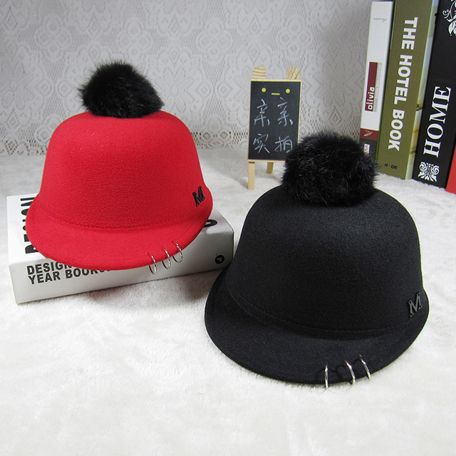 2016 new Child Equestrian hat autumn and winter rabbit fur ball cap big boy  and girl baby child woolen hat kids beanies caps 204aef8ff51f
