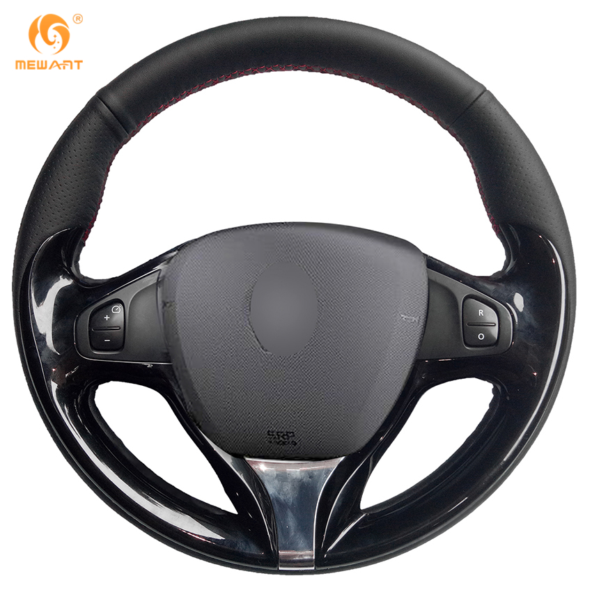 MEWANT Black Genuine Leather Car Steering Wheel Cover for Renault Clio 2013-2015 Captur 2014-2017 special hand stitched black leather steering wheel cover for vw golf 7 polo 2014 2015