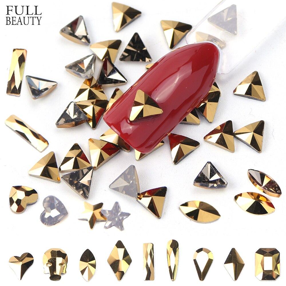 10 Pc Mineral Gold Nagel Dekorationen Strass Diamanten Steine Flache Glas 3d Strass Schmuck Perlen Für Nail Art Zubehör Ch935 Reine WeißE