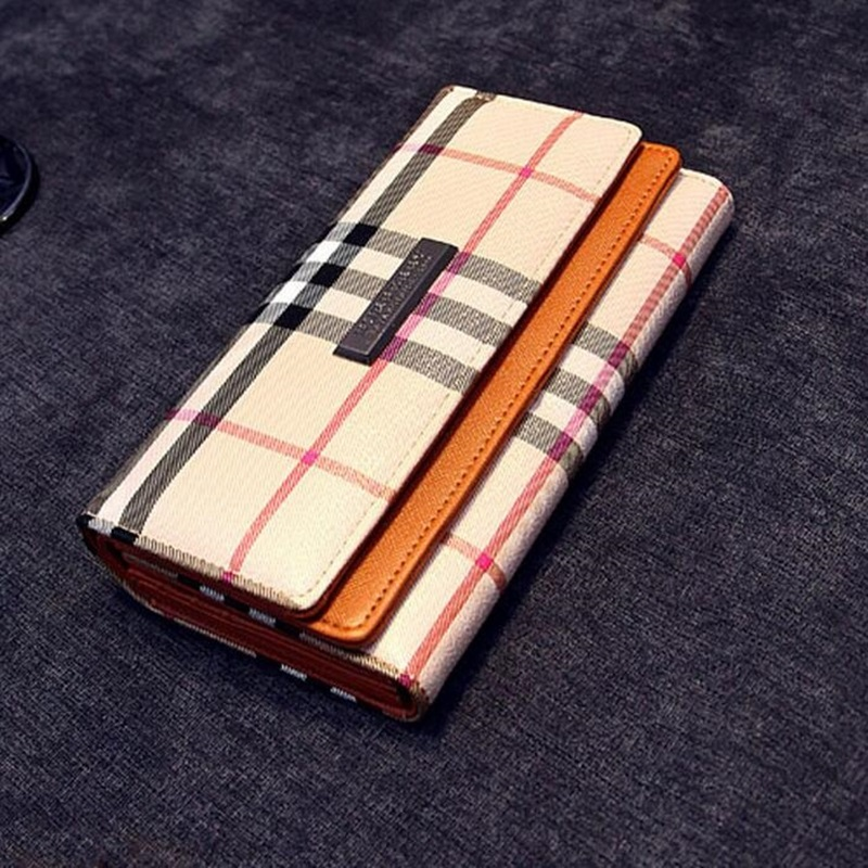 Women Leather Wallets Brand Designer Plaid Clutch Coin Purse Long Card Holder Ladies Clutches Bag Carteira Feminina