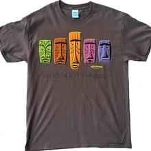 Shag Mens T-shirt Hipster 60s Five Tikis Taupe Tiki Brown Retro Beatnik  Vintage( d31bc3e5dd34