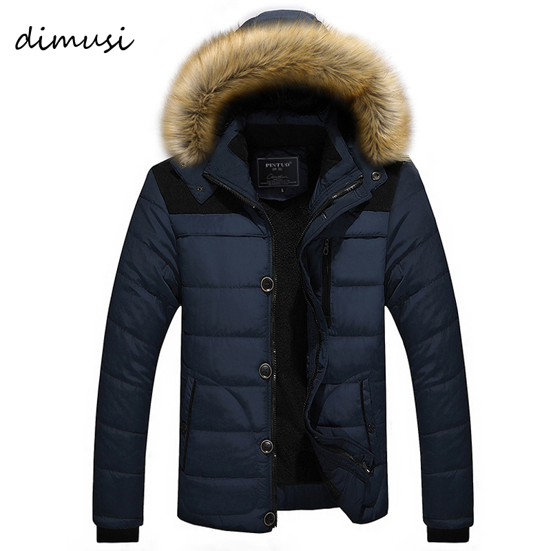 DIMUSI Mens Winter Jacket Male -25 'C Thick Thermal Cotton   Parka   Coats Mens Casual Faux Fur Collar Hoodies Jackets 6XL,TA270