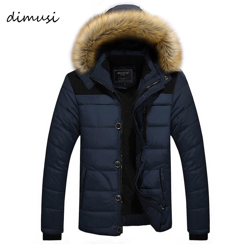 DIMUSI Mens Winter Jacket Male -25'C Thick Thermal Cotton Parka Coats Mens Casual Faux Fur Collar Hoodies Jackets 6XL,TA270
