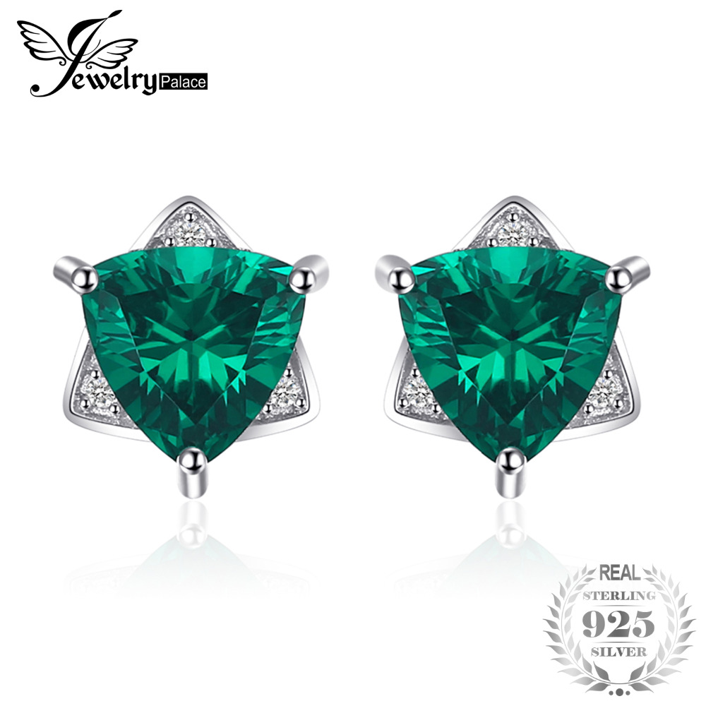 JewelryPalace Triangle Shape 2.22ct Created Emerald Stud Earrings 100% 925 Sterling Silver Earrings For Women Brand Fine Jewelry pair of stylish rhinestone triangle stud earrings for women