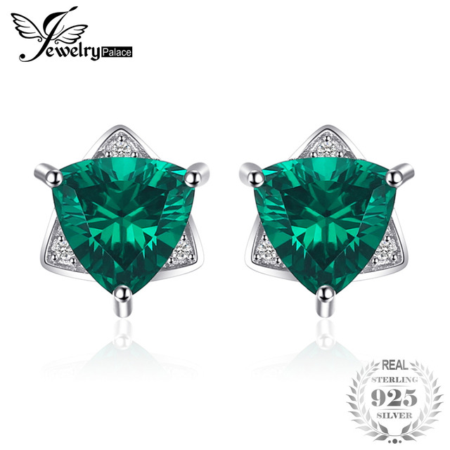 JewelryPalace Triangle Shape 2.22ct Created Emerald Stud Earrings 100% 925 Sterl