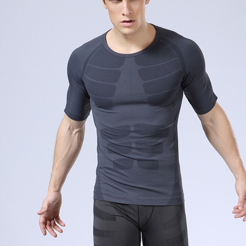 Summer autumn Men short sleeve Breathable quick dry thermal High-Elastic Muscle lines underwear undershirts shaper