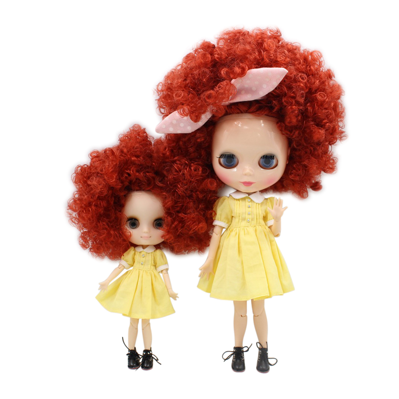 Free shipping factory blyth doll middie sister family wild-curl hair pink brown 1/8 1/6 bjd gift toy alumi curl cap pink