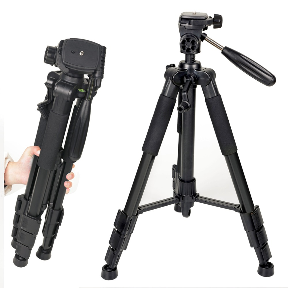 Professional Aluminum Alloy SLR Three Camera Folding Portable Tripod with Ball Head Bag Travel for DSLR Black Q111 new professional aluminum alloy yunteng vct 668 tripod for slr dslr camera maximum load 3kg with carry bag