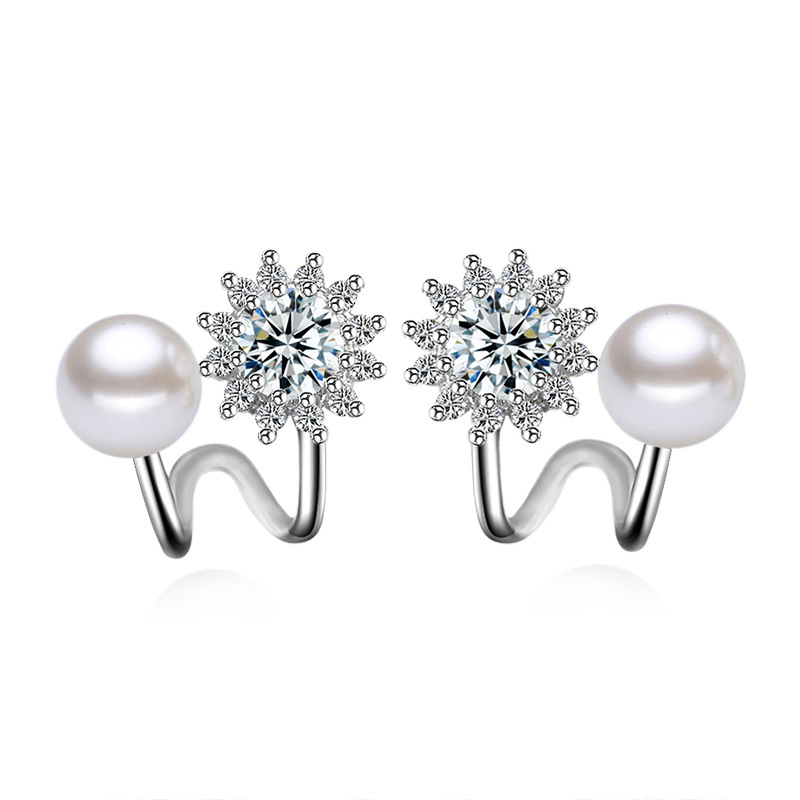 100% 925 sterling silver fashion shiny cz zircon snow pearl flower ladies`stud earrings female jewelry wholesale gift cheap