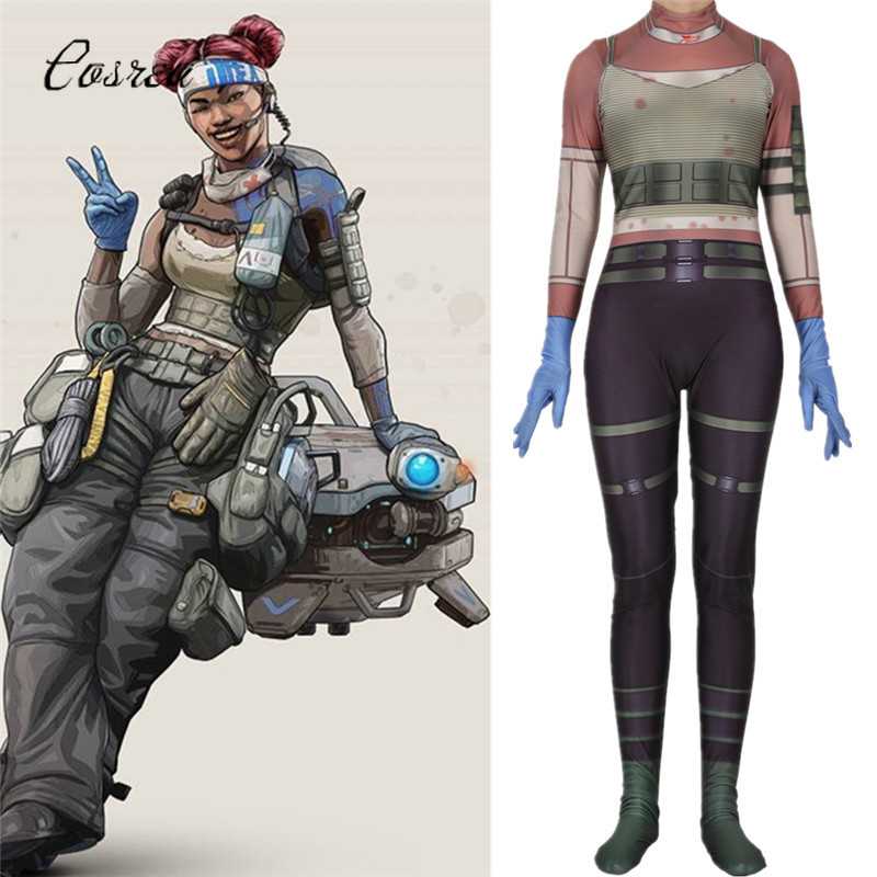 Game Apex Legends Full Suit Costumes Ladies Zipper Bodysuit One-piece Zentai Cosplay Onesie Adult Halloween Costume